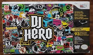 NINTENDO-Wii-DJ-Hero-Boxed-LOT-WIRELESS-Turntable-Controller-Game-Manuals