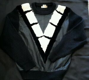 1980's leather/rabbit fur Cosby sweater Large