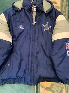 promo code 1a6b8 aba97 Details about Vintage NFL Dallas Cowboys Puffer Coat Hood Jacket Men Pro  Line Logo Athletic XL