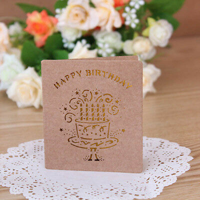 1pc 3D Cards Handmade Pop Up Greeting Card Happy Birthday Cake Wish For You