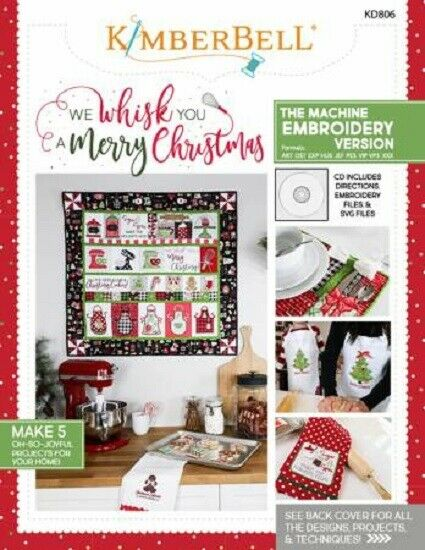 Kimberbell We Whisk You a Merry Christmas Machine Embroidery CD and Book KD806