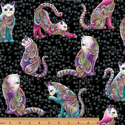 Benartex Cat-i-tude by Ann Lauer 4202M 09 White Hearts /& Cats  BTY Cotton Fabric