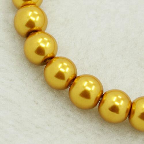 50 Glaswachsperlen 8 mm gold glänzend metallic Perlen Glasperlen gelbgold *