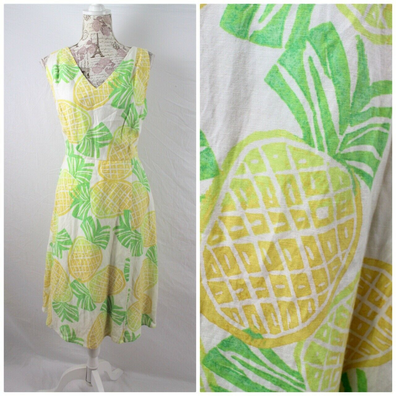 Pineapple Print Linen Dress by Sigrid Olsen Sz 8