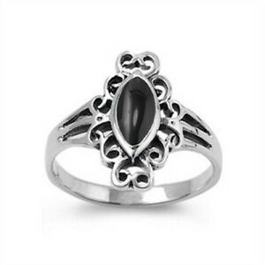 Oval Stone Black Onyx Ring Genuine Sterling Silver 925 Face Height 8 mm Size 5