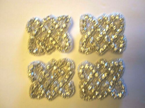 "2/"" **CRYSTAL  RHINESTONE** BEAD Applique  LOTS OF BLING!! 4 pc"