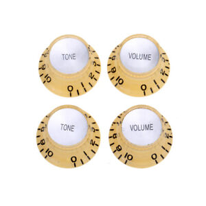 Musiclily Pro Cream Inch Guitar Hat Bell 2 Volume 2 Tone Knob For US Les Paul SG