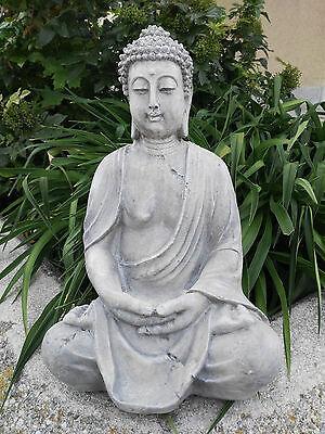 XL Großer Buddha sitzend grau steinoptik ca 40 cm Figur Feng Shui Skulptur Lotus