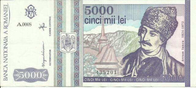 ROMANIA 5000 LEI 1993 P104 XF 2RF 30AGO