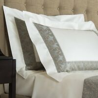 $600 Frette Gotico Border Set Of 2 King Shams Nordic Blue Sand Stone Cotton