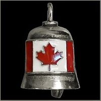 Pewter Motorcycle Gremlin Bell Canadian Flag Canada Maple Leaf Red & White