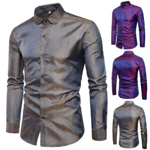 Sequins-Nightclubs-Mens-Casual-Formal-Slim-Fit-Dress-Shirt-Blouse-Top-Fashion