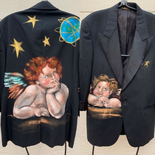 HAND-PAINTED ANGEL CHERUB MENS BLAZER JACKET CLUB-