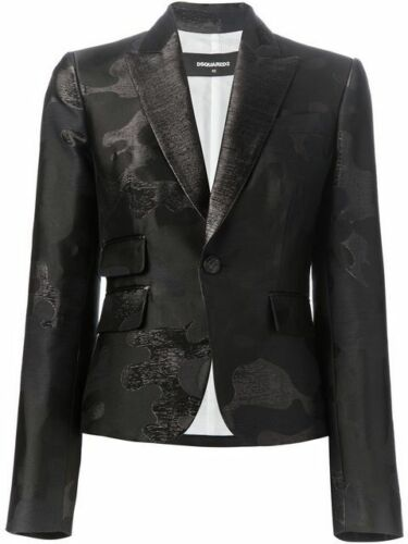 """100% auth. DSQUARED BLACK JACQUARD """"CAMOUFLAGE"""" SI"""