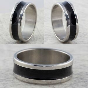 8mm-Stainless-Steel-Silver-Black-Mens-Womens-Wedding-Band-Ring-Sizes-L-to-Z