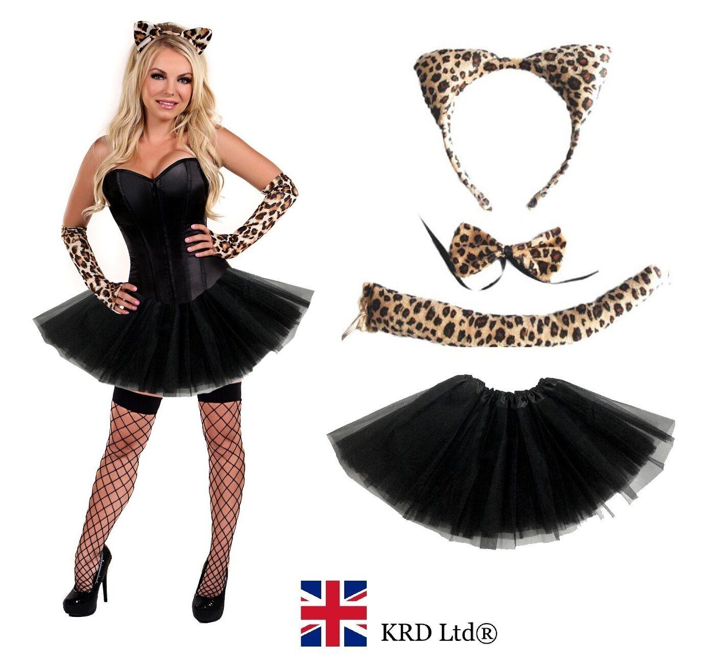damen leopard halloween kost m m dchen raubkatze t t. Black Bedroom Furniture Sets. Home Design Ideas