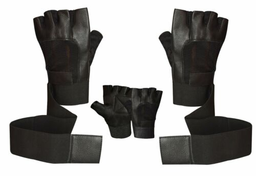 WEIGHT LIFTING LEATHER GLOVES PADDED BODY BUILDING GYM WRIST STRAP TRAINING