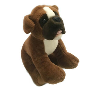 Bear Boxer Puppy Dog Plush Brown White