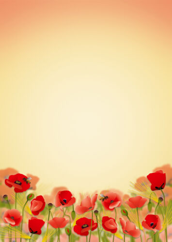 Schreibblock Mohnblumen Blüten A4 25 Blatt Briefpapier Motivpapier Briefblock