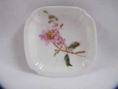 Flower Ashtray Vintage Porcelain Round White Ashtray Wild Flowers