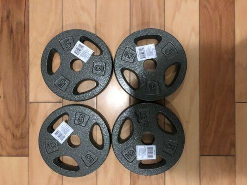 "CAP 5 lb X 4 Standard Grip Weight Plates Barbell  1/"" 20 lbs Total NEW! Gray"