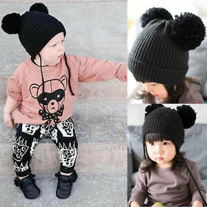 7a75fe3bc Details about Newborn Infants Baby Girls Boys Winter Warm Knit Hat Toddler  Hairball Beanie Cap
