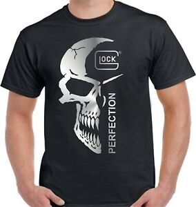 GLOCK PERFECTION SKULL FIREARMS T-SHIRT - UNISEX TEE HIGH QUALITY