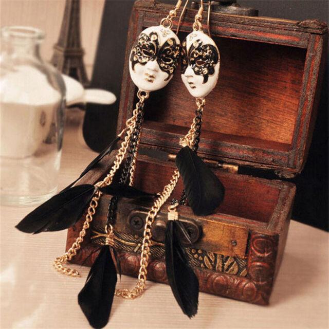 Charming Baroque Chain Feather Tassel Chain Mask Long Drop Earrings for Women、SE