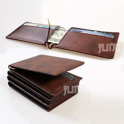 New Mens Vintage Genuine Cowhide Leather  Money Clip Wallet Compact Design Brown
