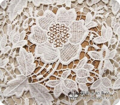 1 Yard of Luxury Victorian Bridal Wedding Dress Embroidered Lace Fabric