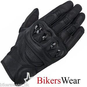 guantes Celer motocicleta de Alpinestars negro reforzados Goretex cuero corta zagdqxW0wq
