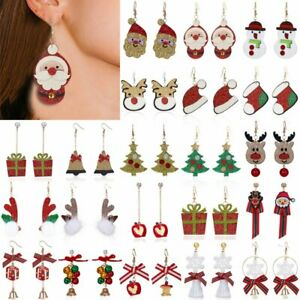 Fashion-Christmas-Santa-Claus-Snowman-Elk-Earrings-Stud-Hook-Xmas-Party-Jewelry