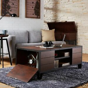 accent metal wood vintage living room furniture end rustic storage
