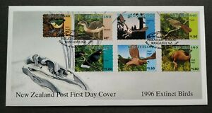 1996-New-Zealand-Extinct-Birds-Laughing-Owl-Giant-Eagle-Moa-7v-Stamps-FDC