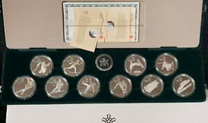 Canada-1988-Calgary-Winter-Olympics-Proof-1-oz-Silver-10-Coin-Set-w-Box-amp-COAs