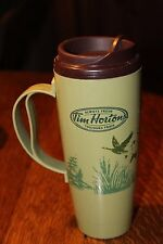 Tim Hortons Plastic Travel Mug Olive Green ThermoSeal Insulated Flying Geese