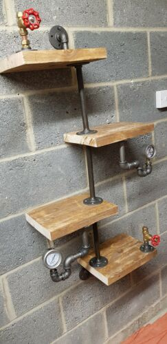 Industrial Steampunk Shelf With Gauges And Gate valves