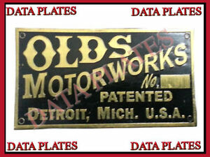 Etched-Brass-Early-Oldsmotor-New-Dash-Data-Plate-Brand-New