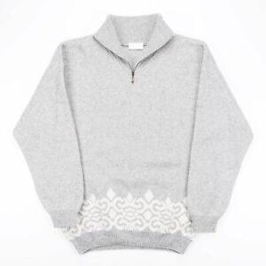 Vintage Adidas grau 1/4 Reißverschluss Crazy Pattern Heavy Knit Pullover Herren Größe Medium
