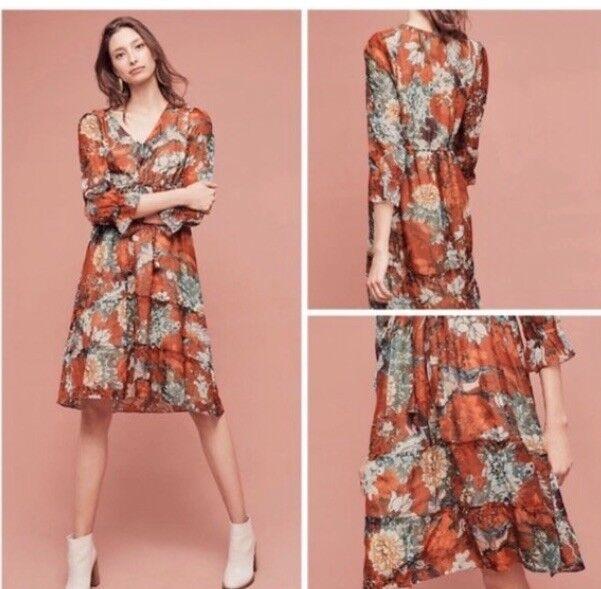 New Anthropologie Zeri Floral Peasant Dress Hemant & Nandita 12P 12P 12P Relaxed Fit 9013b1