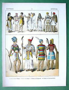 EGYPT-Costume-of-Soldiers-Priest-King-COLOR-Litho-Print