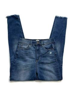 Sneak-Peek-Curvy-Distressed-Jeans-Raw-Hem-Ripped-Knee-Juniors-Size-7