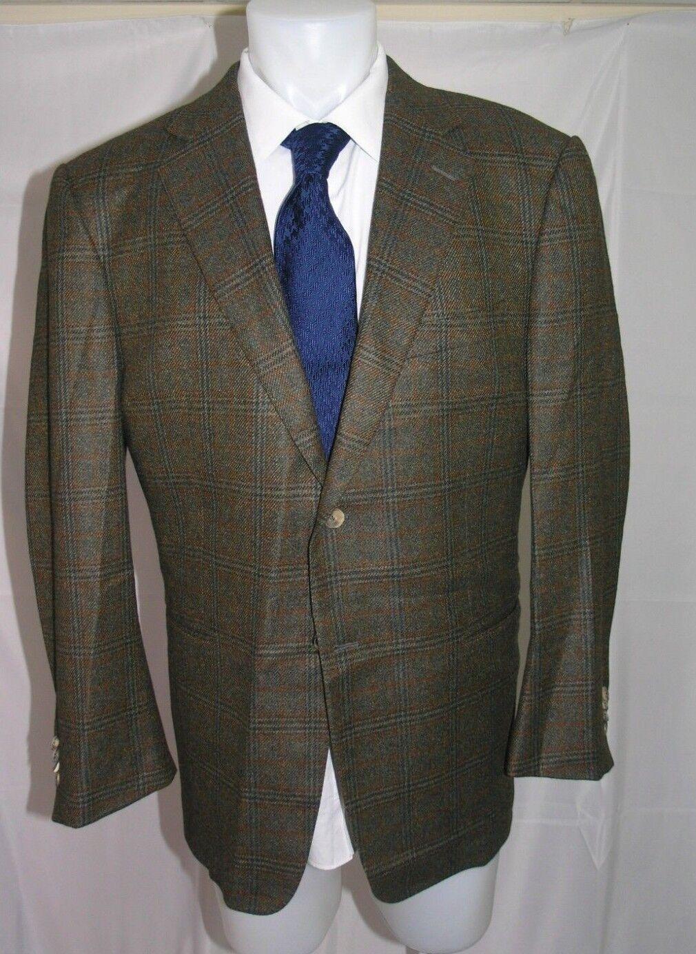 Ermänneregildo Zegna Su Misura Two Button Plaid Pure Cashmere Blazer 44 R