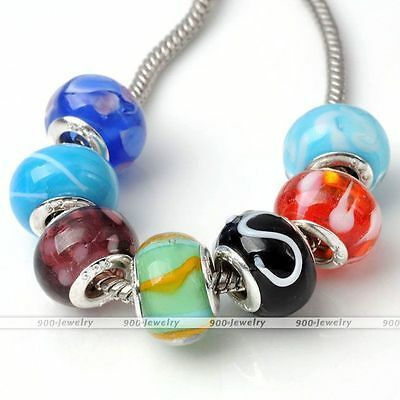 "5x ""925"" Carved Lampwork Murano Glass Loose European Bead Charm Fit Bracelet DIY"