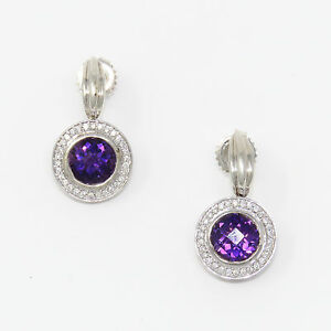 NYJEWEL-C-KRYPELL-Brand-New-14K-Gold-Silver-Diamond-Amethyst-Dangle-Stud-Earring
