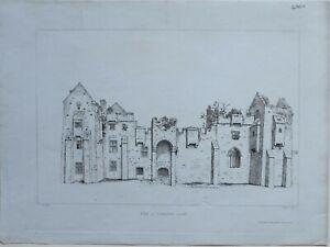 1822-ANTIQUE-PRINT-VIEW-OF-COMPTON-CASTLE