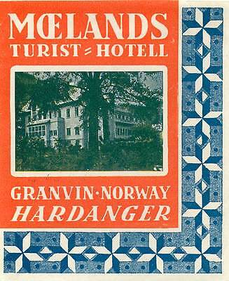 HARDANGER NORWAY BRAKANES HOTEL VINTAGE ART DECO LUGGAGE LABEL