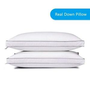 2x-Goose-Down-Bed-Pillow-100-Egyptian-Cotton-Luxury-Pillows-Queen-King-Size