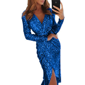 Plus-Size-Women-V-Neck-Long-Sleeve-Party-Dress-Cocktail-Evening-Slim-Fit-Bodycon
