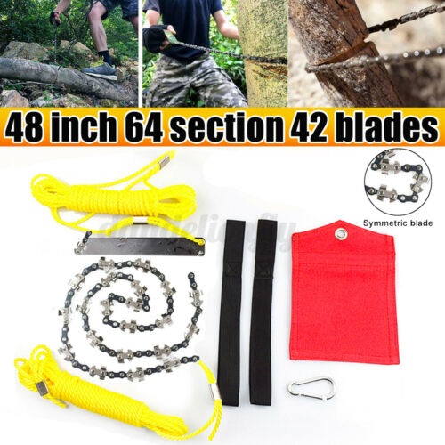 """48/"""" High Reach Tree Hand Rope Chain Saw Blade on Both Side Outdoor Portable Tool"""